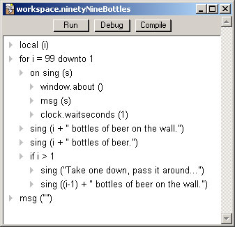 Ninety Nine Bottles of Beer in UserTalk.